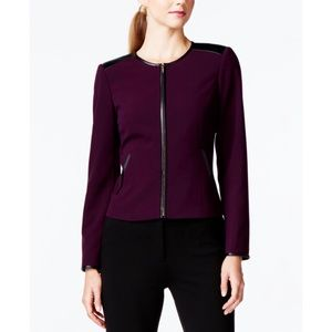 NWT🦚 Calvin Klein Purple Blazer Faux Leather Trim